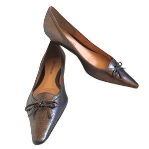 Diana Ferrari Bronze Leather Pointy Toe Flats Sz 8